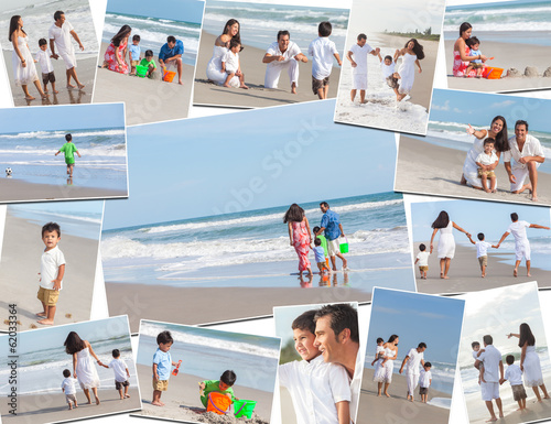 Montage Happy Family Parents & Two Children Beach
