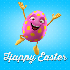 Happy Easter egg, merry 3D cartoon object