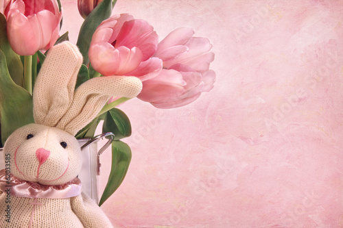 Easter bunny and pink tulips
