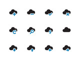 Cloud duotone icons on white background.