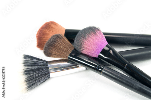 Leinwandbild Motiv Professional makeup brush set on white background