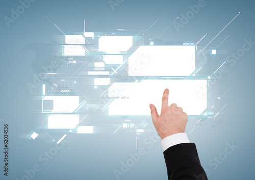 close up of businessman pointing to virtual screen