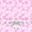 spring card template with bow pink