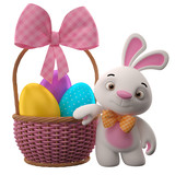 Happy Easter, amazing 3D easter bunny, rabbit, eggs in basket
