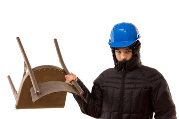 Aggressive hooligan wielding a wooden chair
