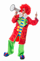 Clown mit Megafon