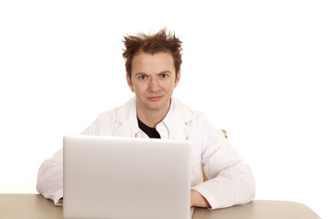 Doctor messed up hair computer looking