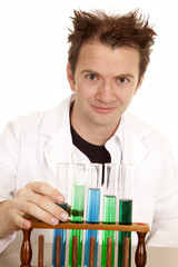 Mad scientist with test tubes look