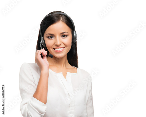 A confident and beautiful customer support operator