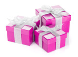 Three purple gift boxes with silver ribbon and bow