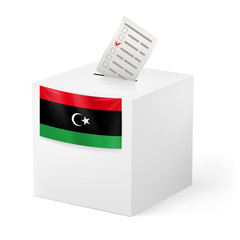 Ballot box with voting paper. Libya