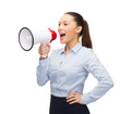 screaming businesswoman with megaphone