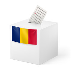 Ballot box with voting paper. Romania
