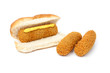 Dutch croquette sandwich with mustard two separate croquettes