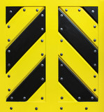 Wooden black and yellow gate