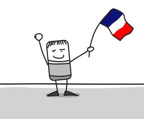 Personnage agitant le drapeau de la France