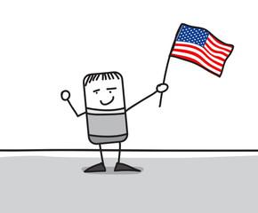 Personnage agitant le drapeau des USA