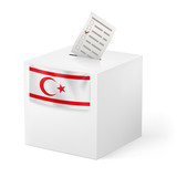 Ballot box with voting paper. Northern Cyprus