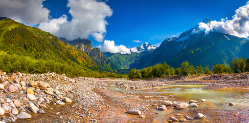 Panorama of the mountain river.