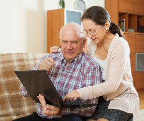 mature couple studying laptop