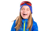Crazy laughing funny kid girl with winter hat