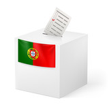 Ballot box with voting paper. Portugal