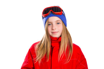 Blond kid girl winter portrait with ski snow goggles
