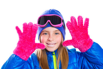 blond kid gir winter snow portrait with open hands