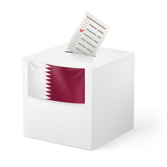 Ballot box with voting paper. Qatar