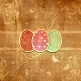 Grunge floral Easter egg background
