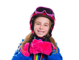 Blond kid girl happy going to snow with ski poles and helmet