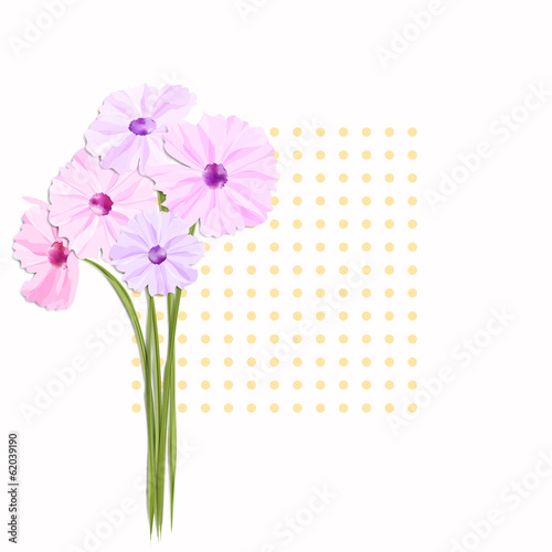 Springtime Greeting Card with Colorful Flowers
