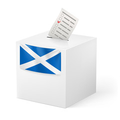 Ballot box with voting paper. Scotland