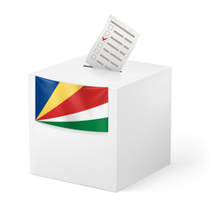 Ballot box with voting paper. Seychelles