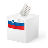 Ballot box with voting paper. Slovenia