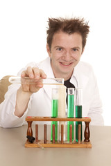 Man scientist test tubes pour look