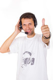 assistant with headset showing ok with thumb up