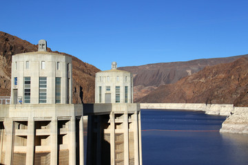 Lake Mead and the Hoover Dam in Nevada, USA