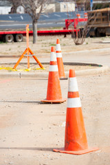 orange cones at construction site