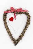 Wooden Heart with Red Heart and Ribbon