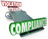 Compliance Vs Violation See-Saw Balance Following Rules Laws poster