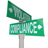 Compliance Vs Violation Street Road Sign Direction Advice Follow poster
