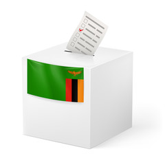 Ballot box with voting paper. Zambia