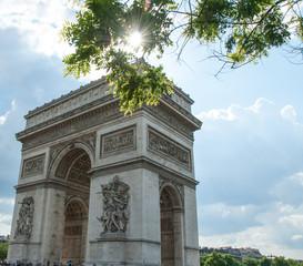 Arc de Triomphe de l'Étoile  on a Sunny Spring Day