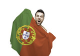 Fan holding the flag of Portugal celebrates on white background