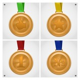 golden medal isolated set
