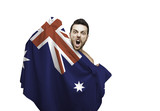 Fan holding the flag of Australia celebrates on white background