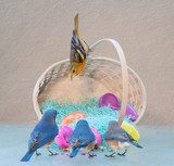 wild birds with easter basket