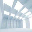 Blue 3d abstract architecture background. Empty interior with li