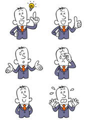 ビジネスマン6種類のポーズと表情